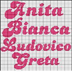 Risultati immagini per ricamo nome Bianca