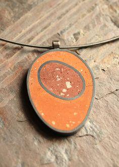 Cement orange pendant