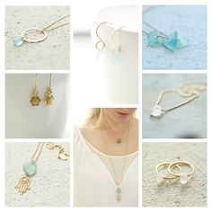 Seaglass and gold jewellery hand made in England by Drift Jewellery. Perfect bridal jewellery and gifts for your maids.  See more at www.driftjewellery.com