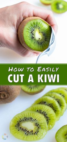 Cutting a Kiwi is easy once you know a few simple steps and tricks. You can learn how to easily peel and cut a kiwi for snacking, adding to yogurt, fruit salads, or smoothies! Use a spoon to remove the fruit from the tart thin skin.