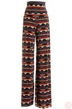 Belle Donne - Womens Trendy Aztec Tribal Print Long Palazzo Pants