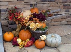 Nice way to decorate with old wheel barrow- I love to make the property attractive in all seasons such as fall