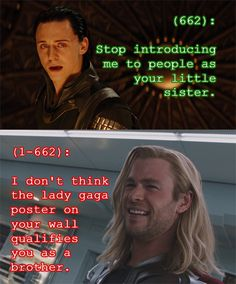 """Texts From the Avengers - Tumblr - Submitted by thequeenofthepirates // He can't help it if """"Born This Way"""" is his jam, Thor, I mean, come on, Anthem of the Adopted Frost Giants..."""