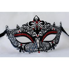 Masquerade mask, laser cut metal black masquerade mask with red gems,... ($21) ❤ liked on Polyvore featuring costumes, red halloween costumes, masquerade halloween costume, prom halloween costumes, masquerade costumes and gem costume