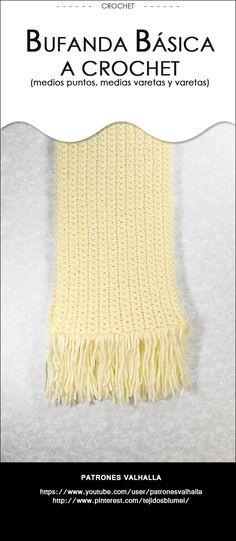 #Bufanda básica a #Crochet   #PatronesValhalla
