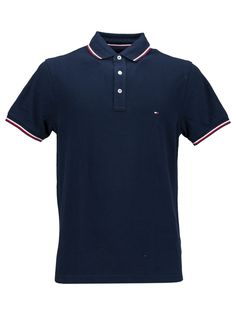 Tommy Hilfiger Polo Tipped Slim Fit In Blu/rosso Camisa Polo, Tommy Hilfiger Polo Shirts, Polo Outfit, Mens Polo T Shirts, Men's Fashion, Casual Outfits, Dressing, Dresses For Work, Slim