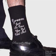 Groom socks just in case you get cold feet black white wording wedding bride preseant groom socks perosnalised socks by personaliseddiamante on Etsy