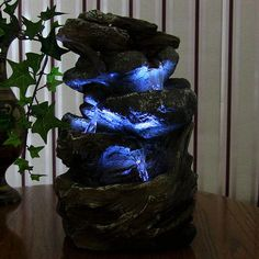 Tiered Rock & Log New Tabletop Desktop Indoor Water Fountain w/ LED Lighting #Sunnydaze