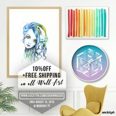 ✰ 10% OFF + FREE Worldwide Shipping on All Wall Art on Society6 ➤ https://society6.com/edrawings38?curator=edrawings38 ✰ Ends August 15, 2016 at Midnight PT ✰ #freeshipping #wallart #walldecor #sale #offer #tapestry #artprints #framedprints #canvasprints #metalprints #clock #home #interior #design #geometric #abstract #society6 #s6promo #edrawings38 #art #illustration