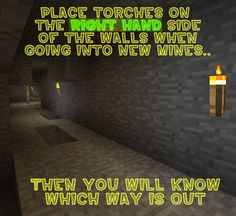 Just a handy tip I thought I'd share! Keep torches on the right when exploring new mines! Minecraft tip Minecraft Plans, Minecraft Videos, Amazing Minecraft, Minecraft Christmas, Minecraft Pixel Art, Minecraft Creations, How To Play Minecraft, Minecraft Houses, Minecraft Tips And Tricks