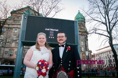Northern Ireland Wedding Photographer has opportunity to have wedding couples names in lights at Belfast City Hall.