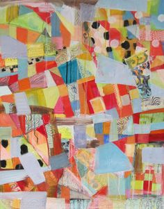 Crazy Quilt with Black and White   ORIGINAL PAINTING by Michelle Daisley Moffitt