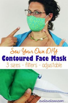 Free DIY contoured face mask pattern to sew your own premium and fashionable shaped surgical mask with adjustable elastic ear loops, optional straps, and a removable nose wire. The pattern includes 3 sizes and instructions on sewing a contoured filter to fit perfectly inside the filter pocket. #facemaskpattern #facemasktutorial #diyfacemask Easy Sewing Patterns, Sewing Tutorials, Sewing Hacks, Sewing Projects, Sewing Tips, Sewing Ideas, Sewing Clothes, Diy Clothes, Sewing Basics
