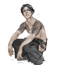 If you keep making that face, it'll get stuck that way. Inspired by januariat's tattooed Levi.