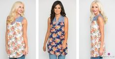 Floral Chambray Tunic | Small-XL | 2 Colors