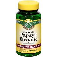 Spring Valley: Papaya Enzyme Digestive Health Dietary Supplement, 180 Ct. Can be found at Wal-Mart. Useful for bloating.