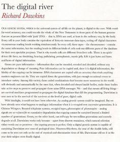 The digital river, Richard Dawkins