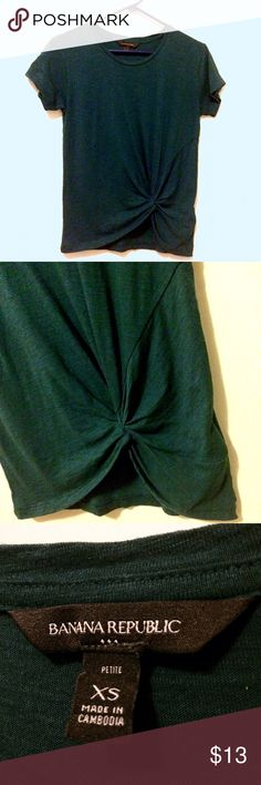 Dark Teal BR Tee with Knot Detail Barely worn, very flattering t-shirt with sewn knot at the bottom. From Banana Republic Factory. Banana Republic Tops Tees - Short Sleeve