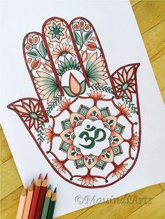 Hamsa Om - Hand Drawn Adult Coloring Page Print by MauindiArts Mandala Art, Design Hamsa, Design Art, Colouring Pages, Printable Coloring Pages, Hand Der Fatima, Hamsa Art, Hindu Art, Adult Coloring