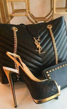 Yves Saint Laurent ~ Quilted Black Leather Slingback Stiletto + Black Leather Handbag w Gold Chain: