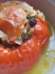 Almost Turkish Recipes: Stuffed Red Bell Peppers~