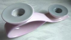 CARLTON WARE~#2567~ART DECO~HANDPAINTED~LILAC & GREY~DOUBLE~CANDLESTICK~HOLDER