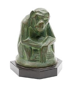 Found on www.botterweg.com - Book-end with green patinated earthenware monkey design Johan Coenraad Altorf 1876-1955 in 1904 signed J.Dommisse