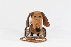 "Nachziehdackel Ruadi - pull arround sausage dog ""Ruadi"" Sausage, Dogs, Crochet For Baby, Knitting, Kids, Sausages, Doggies, Dog"