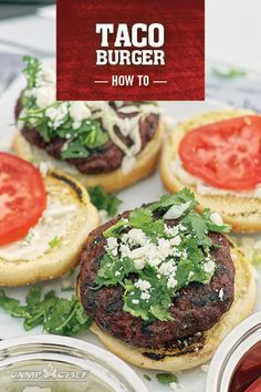 This burger recipe kicks it up a notch with pickled jalapeños, cilantro, and queso fresco. It's perfect for backyard barbecues, tailgating, and more. Burger Recipes, Grilling Recipes, Cooking Recipes, Smoker Recipes, Tailgate Food, Tailgating, Taco Burger, Pellet Grill Recipes, Camp Chef