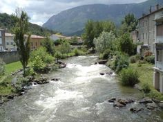 Quillan, France. The river Aude though Quillan.