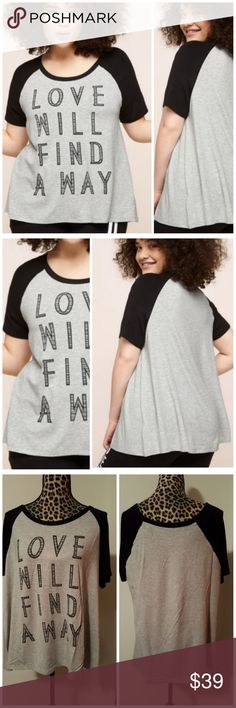 NEW Plus Size Love Baseball Tee Brand new, Boutique  Black & Light Grey Plus Size Love Baseball Tee Love will find a way. Put on this plus size baseball tee and patched denim and find your way into his heart.? Rayon/spandex. Machine wash. Approx. 26 3/4 inches long. Runs just a bit small.  I'd recommend size 14 &16 based on above size chart. Tops Tees - Short Sleeve