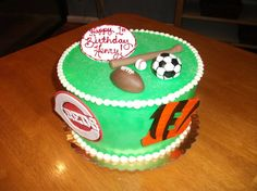 Cincinnati Sports - Reds Baseball & Bengals Football - Birthday Cake