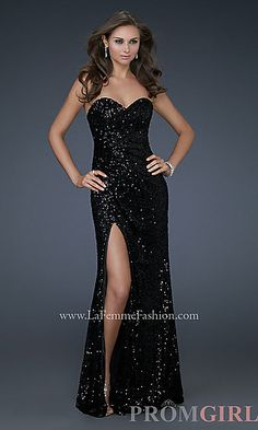 Floor Length Strapless Sequin Gown by La Femme at PromGirl.com 338.00