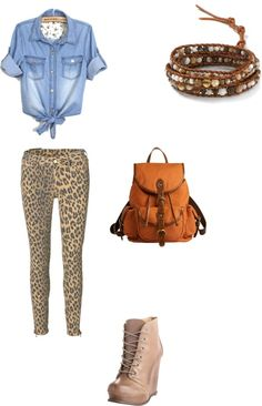 """leopart jeans rebelle simplement"" by hugohsm ❤ liked on Polyvore"
