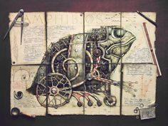 Vladimir Gvozdeff's illustration series Mechanisms depicts a wonderful bestiary of armored, mechanical creatures in steampunk style, surrounded by the detritus of contrafactual Victorian inventorship.