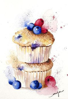 """A fruity little muffin"" by Enya Todd. Watercolour on Paper, Subject: Still life, Illustrative style, One of a kind artwork, Signed on the front, This artwork is sold unframed, Size: 14.8 x 21 x 0.2 cm (unframed), 5.83 x 8.27 x 0.08 in (unframed), Materials: watercolour"