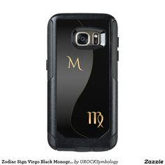 #Zodiac Sign #Virgo Black Monogram #Otterbox Samsung #Galaxy or #iPhone Case…