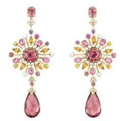 Pink and yellow teardrop earrings