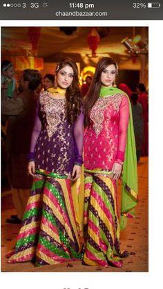 Love the stripes Asian Wedding Dress Pakistani, Pakistani Frocks, Pakistani Mehndi Dress, Indian Bridal Wear, Pakistani Outfits, Simple Dresses, Nice Dresses, Sharara Designs, Mehndi Outfit