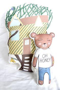 Organic Bear Treehouse Plush by TaylorAndRain on Etsy
