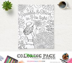 Coloring Page Printable Bible Verse Sparkle and Shine in His light Instant Download Kids