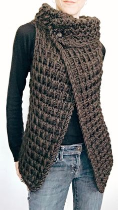 Ravelry: the Knit TC Vest pattern by Karen Clements KNITTING PATTERN: This vest is the Knit version of a vest I designed in Tunisian Crochet. A simple knitting pattern worked flat in one piece. I would rate this for at least the advanced beginner. Tunisian Crochet, Crochet Shawl, Crochet Stitches, Knit Crochet, Crochet Vests, Ravelry Crochet, Crochet Cape, Crochet Braid, Crochet Edgings