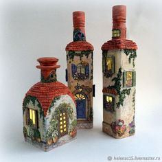 1 million+ Stunning Free Images to Use Anywhere Glass Bottle Crafts, Wine Bottle Art, Painted Wine Bottles, Diy Bottle, Decorated Bottles, Diy Fimo, Bottle House, Clay Fairy House, Fairy Crafts