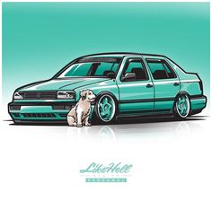 """955 Me gusta, 9 comentarios - LikeHell (@likehelldesign) en Instagram: """"I had the pleasure of drawing up this LH Personal illustration for @mk3_vladi of his VW Mk3 Jetta.…"""""""