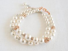 Simple Wedding Bracelet, Bridal Bracelet, Swarovski Pearl Bracelet, Crystal Bracelet Cuff, Modern Vintage Wedding Bridal Jewelry, TAYLOR