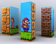 Who doesn't know Super Mario game? All entire world whether kids and teenager knows Super Mario game. And why don't we use this popular Super Mario to be a Super Mario Bros, Mario Room, Gamer Room, Baby Furniture, Gaming Furniture, Cabinet Furniture, Room Themes, Craft Activities, Geeks