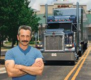 Aaron Tippin, in front of his tour truck before a show at the Alabama  Theatre in Myrtle Beach, S.C., says he feels at home in truckstops.