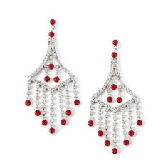 #jewelry Silver Crystal Rhinestone Multiple Strands Chandelier Drop Dangle Earrings with Light Siam Accent Ends