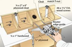 After building the router-table fence featured in WOOD® magazine issue 159 (November 2004, p. 40) I added superfine-tuning for the cost of a micro-adjustable router edge guide—if your router didn't come with one. Here's how you can do the same. Make a base for the edge guide, as shown in the drawing, and mount the guide to it. Use a machinist's die (or a friend who has one) to thread the end of one of the guide rods to match the threads on the T-nut on the cleat. Glue and screw the cleat to…