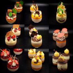 No photo description available. Mini Dessert Recipes, Fancy Desserts, Dessert Cups, Wedding Desserts, Dessert Table, Food Crush, Dessert Decoration, Weird Food, Master Chef